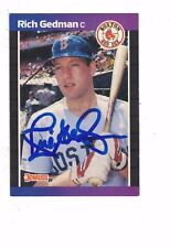 1989 Donruss Rich Gedman Boston Red Sox Authentic Autograph COA