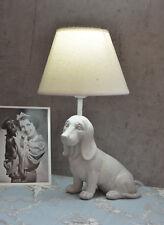 Tischlampe Dackel Lampe Landhaus Tischleuchte weiss Dachshund Lampe Hundefigur