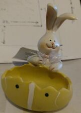 Cottondale Resin Bunny Holding Yellow Egg Decorative Easter Holiday Figure 3.78""