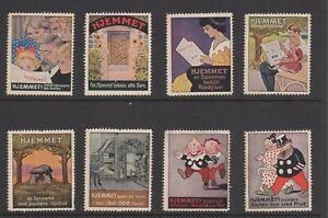 Denmark - Hjemmet Newspaper Vignette Advertising Stamps, Collection of 8 - NG