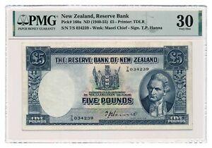 NEW ZEALAND banknote 5 Pounds 1940 PMG VF 30 Very Fine