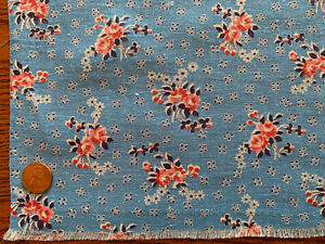 ONE VINTAGE FEEDSACK  BLUE with FLORAL CLUSTERS & Tiny DOTS  37x42  PRISTINE