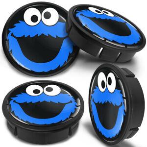 4x 60mm - 56mm Car Elmo Cookie Logo Blue Rims Alloy Wheel Center Hub Centre Caps