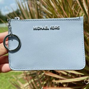Michael Kors Jet Set Small Top Zip Coin Pouch ID Card Holder Key Ring Wallet