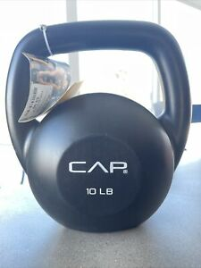 Cap 10 lb Pound Vinyl Kettlebell Black Home Gym Weightlifting Fitness Workout
