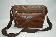 Fossil Large Brown Genuine Leather Flap Messenger Laptop Shoulder Bag
