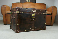 Antique Leather Brown Finest Leather Trunk with Key Leather Box ZA16