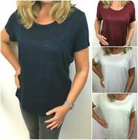 M&S  Linen Scoop Neck Pocket Tee T Shirt Top Size 6-24