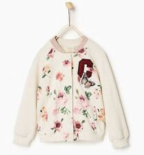 NWT Zara Girls Floral Pink Beige Bomber Jacket 13-14Y SOLD OUT