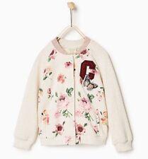 NWT Zara Girls Floral Pink Beige Bomber Jacket 13-14Y SOLD OUT