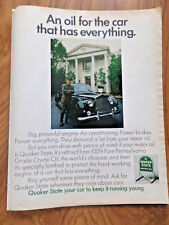 1970 Quaker State Oil Ad An Oil for the Man who has Everything Limosine driver