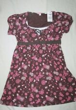 Girls L 12/14 Layered look brown pink butterfly floral swing top shirt NWT