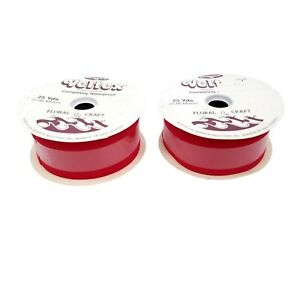"""50 Yds Vintage Veltex Red Velvet Ribbon 2 Rolls 25 Yds Ea 2.75"""" Christmas Decor"""