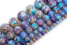 Icy Blue & Purple Sea Sediment Imperial Jasper Grade AAA Round Beads 4/6/8/10MM