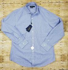 NWT Men Polo Ralph Lauren Slim Fit Cotton Dress Plaid Shirt Blue White Size XL