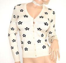 MAGLIETTA BIANCA NERA cardigan donna maglia sottogiacca manica lunga golfino F75