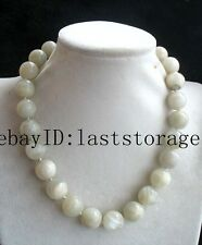 "wholesale  white moonstone round 14mm necklace 17"" nature beads handmade"