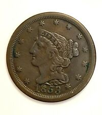 1853 Braided Hair Half Cent Coin 1/2c in AU Condition