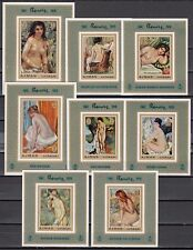 // Ajman, Michel Cat. 853-860 C.  Nude Paintings by Renoir issue as s/sheets.