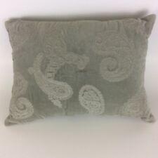 """Throw Toss Pillow Gray Paisley Pattern Zippered 16"""" x 11"""" Home Decor"""