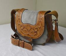 Patricia Nash Denim Tooled Leather Felix Saddle Crossbody Bag