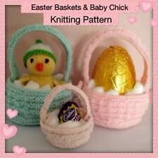 Easter Baskets + Baby Chick Knitting Pattern - Easter Egg and Creme Egg baskets