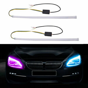 Ultra-thin Dual Color Flexible Tube Car Daytime Running LED Light Strips Lamp