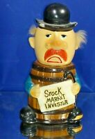 VINTAGE STOCK MARKET INVESTOR POTTERY COIN BANK MADE IN JAPAN - SEE CONDITION -