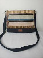 Fossil striped colorful crossbody canvas purse bag