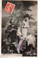 BK732 Carte postale Photo vintage card RPPC couple fantaisie funny sexy humour
