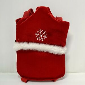 Build a Bear Holiday Snowflake Velvety Red Teddy Bear Carrier Backpack Accessory