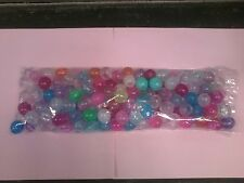Plastic 14mm Round Beads - Mixed Transparent Colors