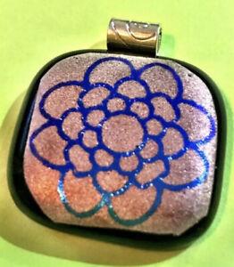 HANDMADE Blue Dichroic Mandala Silver Mica Fused Glass Pendant Necklace ART Gift