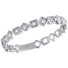 Right Hand Cocktail Ring 1/10 Ct. 10K White Gold Diamond Square Design Ladies