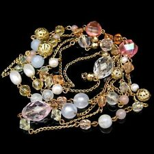 Vintage Extra Long Necklace Acrylic Faux Crystal Filigree Beads Chunky