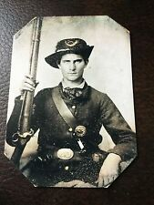 civil war Union Military Soldier With Rifle & Pistol tintype C701RP