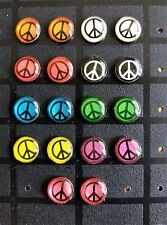 8mm PEACE Sign Logo Symbol Stainless Steel Stud Earrings - Various Colours.