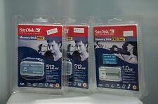SanDisk 2x memory stick pro 512Mb   1x Memory stick pro duo 1.0Gb