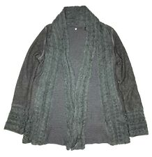 Knitted and Knotted anthropologie grey Green cardigan wool Small sweater