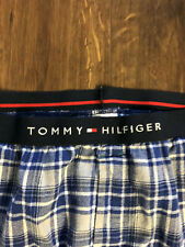Tommy Hilfiger Sleepwear Mens Blue Pajamas Bottom L Plaid EUC Logo Cotton