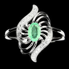 Natural 6x4 Mm Transparent Green Emerald W Cz 925 Sterling Silver Ring Size 8 Nr