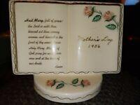 Antique 1956 Hail Mary Full of Grace Porcelain Prayer Vase Mothers Day