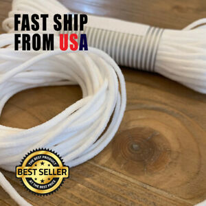 "1/8"" 3mm White Round Elastic Band Cord DIY USA stock Soft Latex Free!"