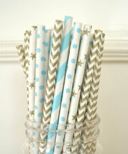 100pcs gold and blue mix polka dot paper straws wedding drinking party tablewear