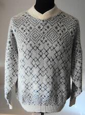 "Vintage St. Michael Mohair / Wool/ Acrylic Blend Jumper White & Grey ~ L 48""-50"""