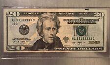 RARE! 2013 $20 FRN ~ Near Solid ~ Circulated ~ Binary