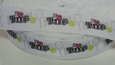 "I LOVE TENNIS WHITE GROSSGRAIN RIBBON - 7/8""X1YD - SPORTS - RACKET - BALL"