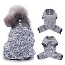 Fleece Dog Pyjamas Puppy Pet Pjs Coat Clothes Sleepwear Jacket S M L XL Gray