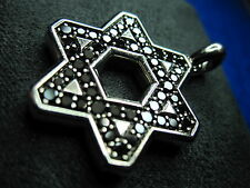 David Yurman Silver Pave Star of David with Black Diamonds Chevron Pendant 23mm