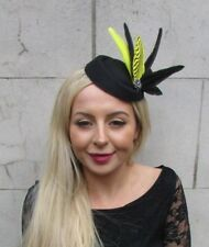 Black Yellow Statement Feather Pillbox Hat Hair Clip Fascinator Races Vtg 6829